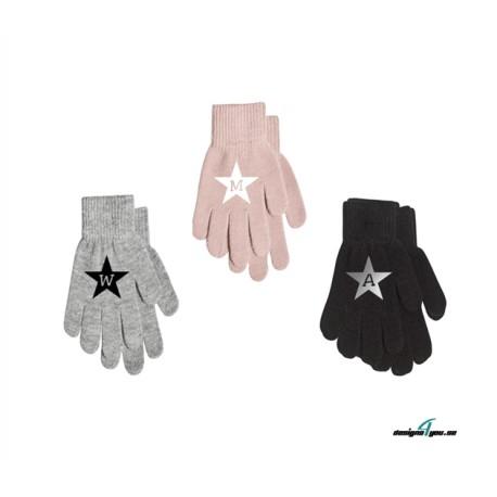 NamnVantar / Fingervantar med stjärna och bokstav i mitten